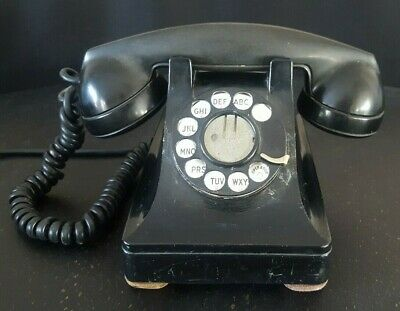 Vintage Western Electric Bell System Rotary Desk Phone Telephone 302 F1 Black