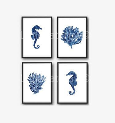 Sea Coral and Seahorse Set Of 4 Watercolour Painting PRINT 5x7 Wall Art