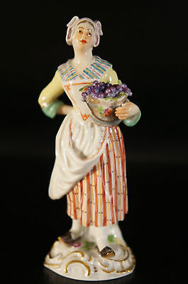 Antique Porcelain Meissen Figurine Woman With Basket and grapes on Hand.
