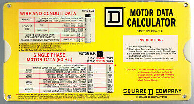 1983 Square D Company American Electric Co Slide Chart Motor Data Calculator