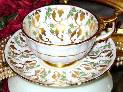 Beautiful Vintage LIME GREEN & GOLD CHINTZ Royal Chelsea Tea Cup and Saucer Set