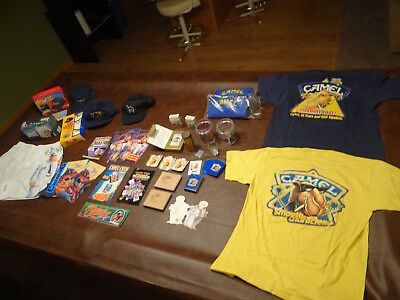 Lot of Joe Camel Collection T-shirts,mugs,hats,shorts,coolers,cards,packs,cases+