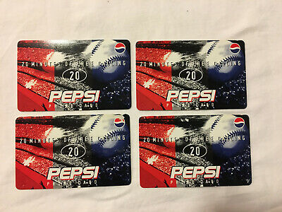 Lot of 4 Collectible Pepsi 20 Minutes Calling Cards (no time on cards)