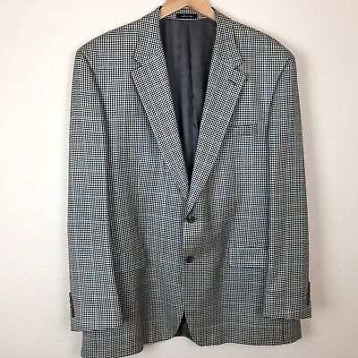 Chaps Houndstooth Sport Coat Blazer 46L Mens 100% Silk Fully Lined Jacket