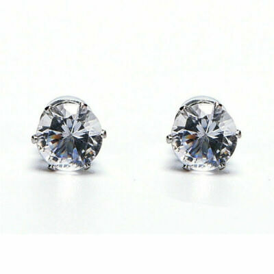 1 Pair Non Piercing Rhinestone Clip On Round Magnetic Stud Earrings Men Women