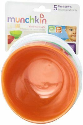 Munchkin 5-Pack Multi Bowl Set Bright Colors BPA Free Microwavable
