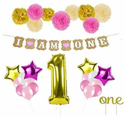 28 pcs 1st Birthday Decor  for Girl Pink & Gold Helium Inflatable Balloons Set