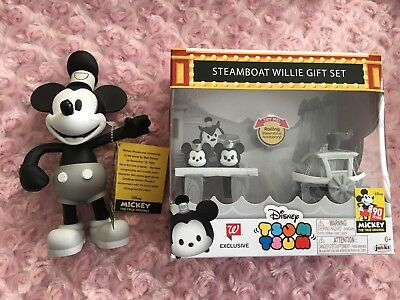 Disney Mickey Mouse Steam Boat Willie Collectible Poseable Figure Tsum Tsum Set
