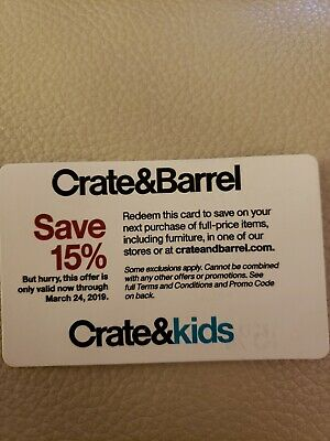 Crate and & Barrel 15% entire order 1coupon (includes furnitures)