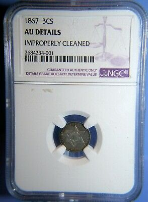 1867 Three Cent 3¢ Silver 3CS **Very Scarce** AU Details NGC   #SBS171