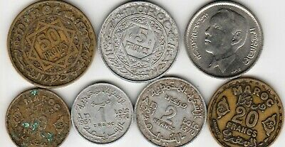 7 different world coins from MOROCCO some scarce