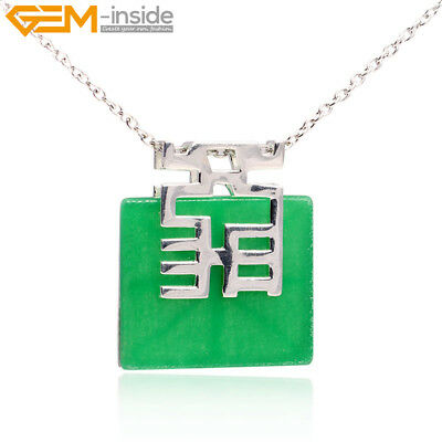 36mm Gemstone Square Beads Silver Plated Jewelry Pendant Necklace Chain Gift Box
