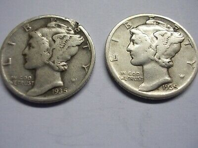 (LOT OF 2) 1935 P 10C Mercury Dimes 90% Silver US Coin