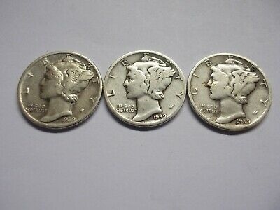 (LOT OF 3) 1939 Mercury Dimes / Circulated / 90% Silver US Coins
