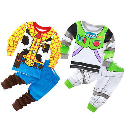 Kids Boys Girls Disney Toy Story Buzz Lightyear and Woody Pyjamas Fancy Dress AU
