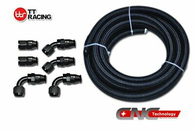 -8AN AN8 Black Nylon PTFE Fuel Line 12FT Teflon Fitting Hose End Kit E85