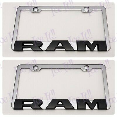 DODGE 3D RAISED Emblem Black Stainless Steel License Plate Frame Rust Free