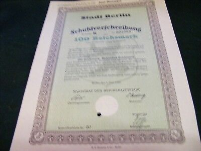 Germany 100 Reichsmark Stock Market Bond 1926 Stadt Berlin