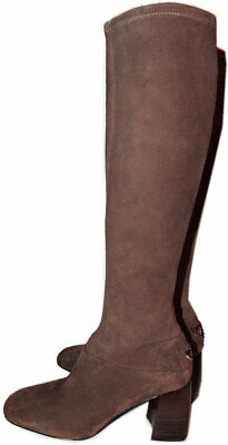 27e08b61a5c181  550 Tory Burch Brown Stretch Suede Sidney T Logo Knee High Boots 6.5  Booties