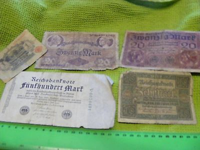 Germany...Lot of 5 Used Banknotes 1914-1923,Mostly WWI era.
