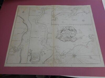 100% Original Newcastle River Tyne Sea Chart Map Engr. By G Collins C1693