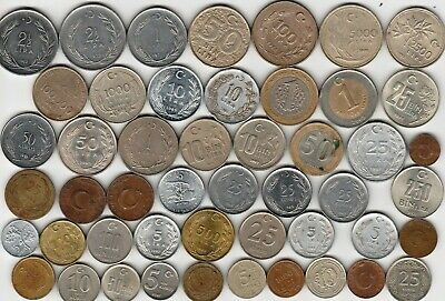 45 different world coins from TURKEY some scarce
