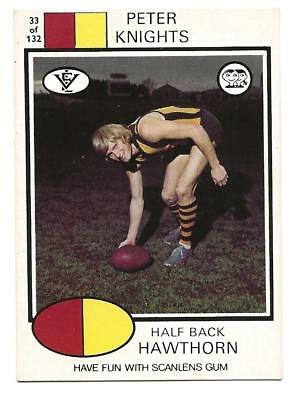 SCANLENS GUM 1975 Aussie Rules Football#33 Peter Knights HawthornTRADE CARD Ex