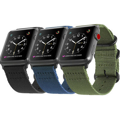 For New iWatch Apple Watch Series 5 4 3 44mm Nylon Woven Band Strap Replacement