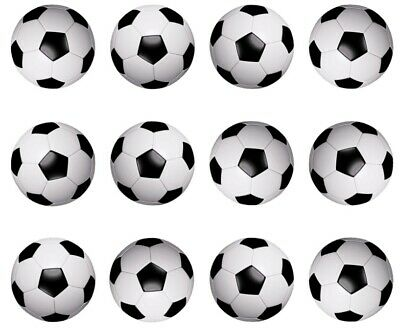Soccer Ball Cupcake Toppers Edible Icing 3 sizes PRE-CUT 12 or 24 Soccerball