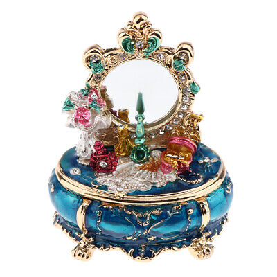 Miniature Jewelry Box Dressing Table Toy for 1/12 Dollhouse Bedroom Blue