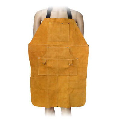NEW 90cm Welding Apron with Ties Pocket Heat Insulation Protective Clothing
