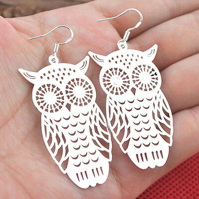 JT_ Women's Unique 925 Sterling Silver Hollow Owl Dangle Earrings Jewelry
