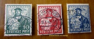 EBS Germany 1949 Allied Occupation Bizone Hanover Fair Michel 103-105 Used (d