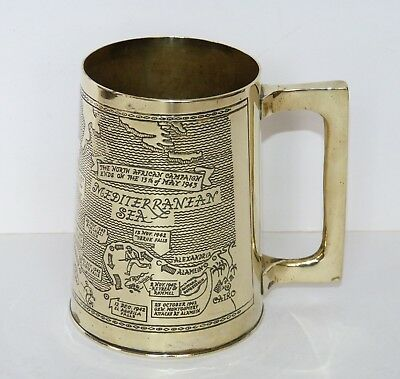 AFRICAN CAMPAIGN 1943 WWII Engraved TRENCH ART Brass TANKARD WW2 SHELL 8th ARMY