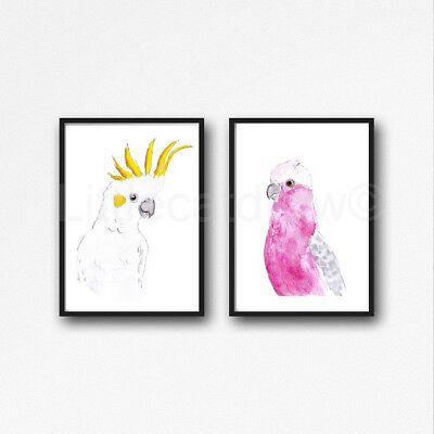 Sulphur Crested Cockatoo Set Of 2 Watercolour Painting PRINT 8x10 Wall Art