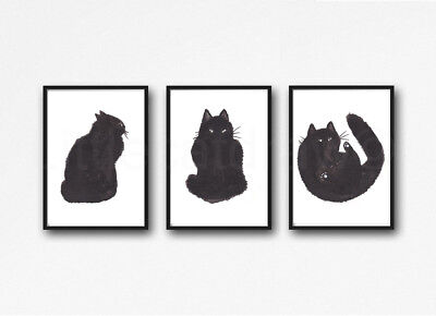 Fluffy Black Cats Set of 3 Watercolour Painting PRINT 8x10 Wall Art
