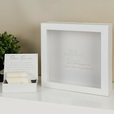Wedding Guest Book Alternative White Message Box Frame 80 Tokens Wishes Cards