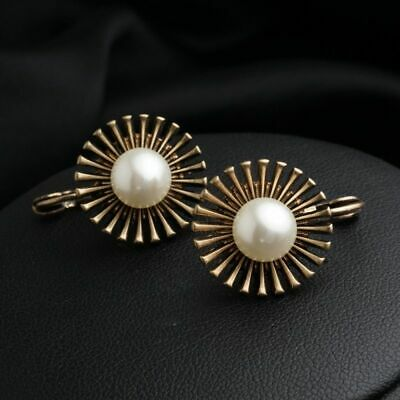 Vintage Cubic Pearl Zircon Gold Plated Lady Hoop Drop Earrings Occasion Jewelry