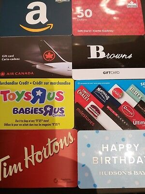 8x gift cards amazon browns tim hortons bay petro dinning toys r us air canada