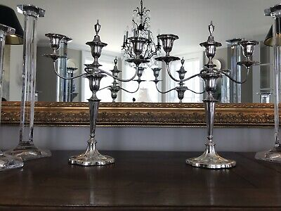 Pair Of Antique English Silver Plate Candlelabras