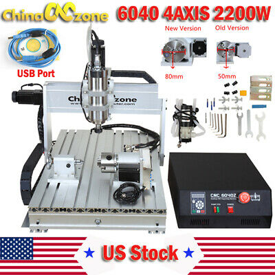 CNC 6040 2200W 4Axis DSP Router Mach3 USB Engraving Cutting Drilling DIY Machine