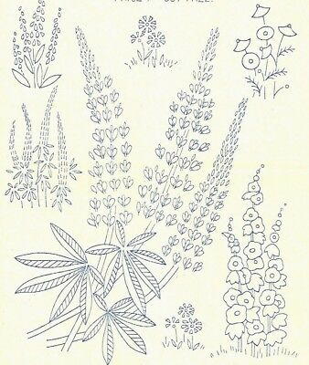 Vintage Visage iron on embroidery transfer 1930s style flowers,lupins 11 x 8""
