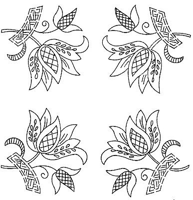 Vintage Visage iron on embroidery transfer- Jacobean deco flower motifs 2 sheets