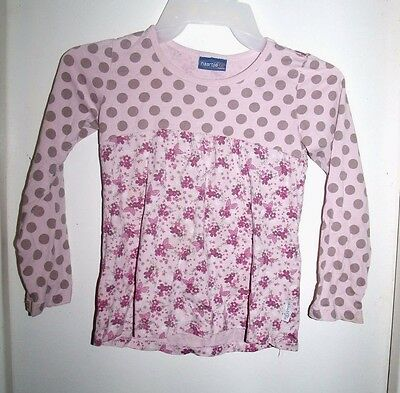 Naartjie Kids Pink Floral Tan Polka Dots L/S Top Size 7 Years