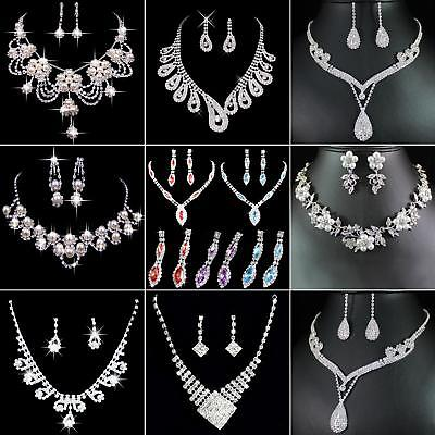 JT_ Prom Wedding Party Bridal Jewelry Diamante Crystal Necklace + Earrings Set