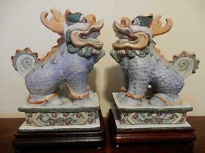 Chinese Dragon Kylin Foo Dog Hand Painted Porcelain Pair On Stands 12 Inch
