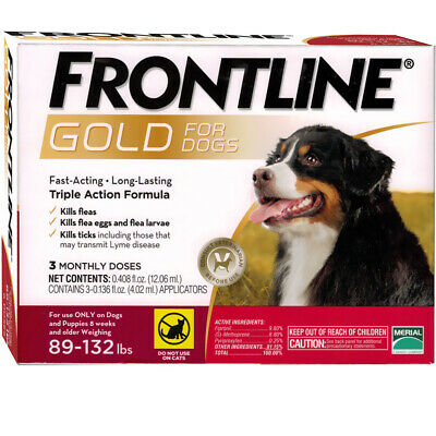 FRONTLINE Plus For Dogs 89 - 132 lbs - RED (3 Months)