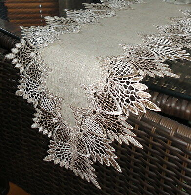 """65"""" Dresser Scarf Shelf Mantel Table Runner EARTH Doily FEATHER LACE"""