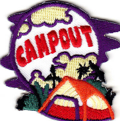 """Camp Outdoors IRON ON EMBROIDERED PATCH Vacation Trip /""""FALL CAMP OUT/"""""""