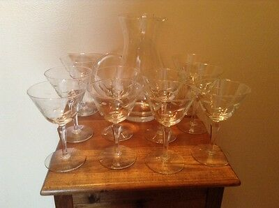 12 vintage cut glass champagne wine glasses with ice lip cut glass pitcher